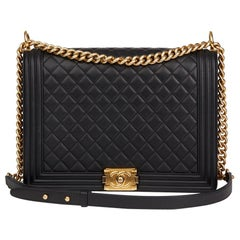 Chanel Black Quilted Lambskin Large Le Boy Bag,  2015