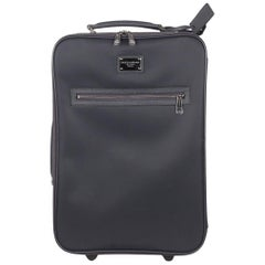 Dolce & Gabbana Blue Canvas Rolling Suitcase Wheeled Travel Bag
