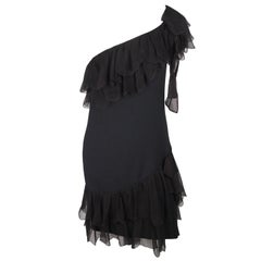 Christian Dior Black One Shoulder Dress with Ruffles Size 4