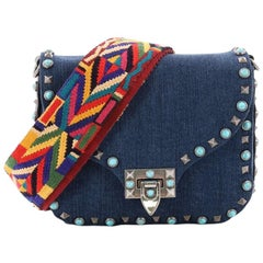 Valentino Rolling Rockstud Crossbody Bag Denim with Cabochons Small