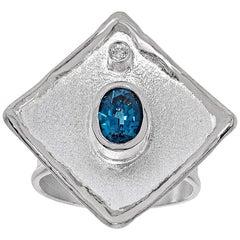 1.60 Carat Blue Topaz and diamond Fine silver 950 square Ring