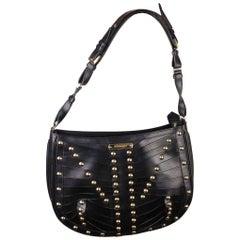 Burberry Black Leather Studded Shoulder Bag