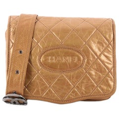 Chanel Vintage Logo Messenger Bag Quilted Aged Calfskin Medium