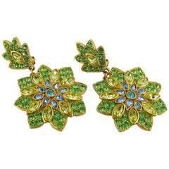 Yves Saint Laurent YSL Vintage Jewelled Flower Dangling Earrings