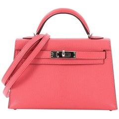 Hermes Kelly Mini II Handbag Rose Lipstick Chevre Mysore with Palladium Hardware