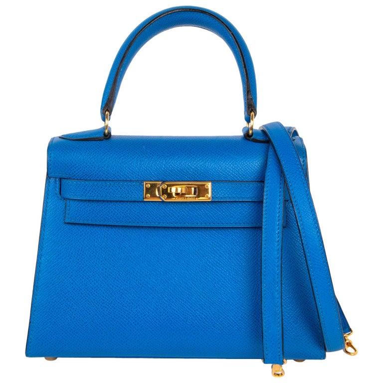 Hermes Vintage Kelly 20 Sellier Mini Blue de France Courchevel Gold Hardware