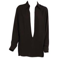 Martin Margiela for Hermes Black Silk Tunic Top
