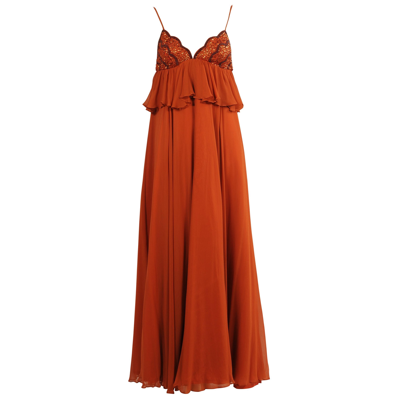Jean Varon Cinnamon Chiffon Gown with Beaded Top, 1970s
