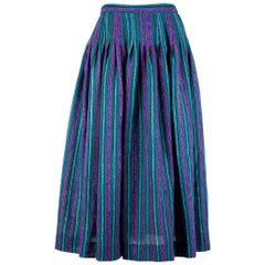 Yves Saint Laurent Green & Purple Peasant Striped Full Skirt, Late 1970s