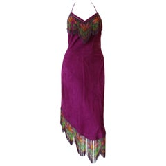 Bohemian Beaded Floral Fringe Purple Suede Halter Dress