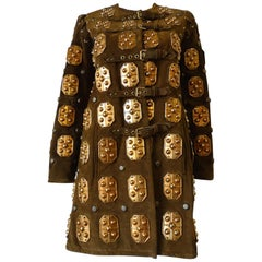 Brown Suede Metal Embellished Buckle Coat, 1970s
