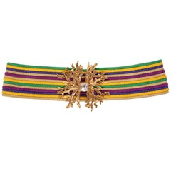 1980s Yves Saint Laurent Vintage YSL Multicolored Passementerie Gold Belt