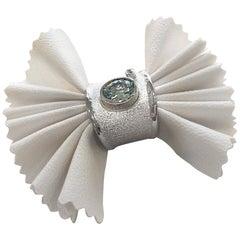 1.60 Carat Aquamarine and diamond Fine silver 950 Ring