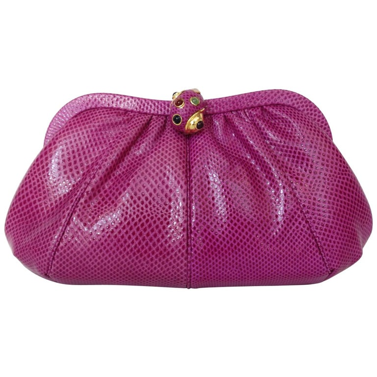 1980's Judith Leiber Purple Lizard & Leather Clutch  For Sale