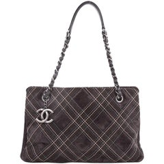 Chanel Saltire Shoulder Bag Stitched Suede