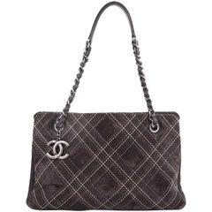 Chanel Saltire Shoulder Bag Stitched Suede