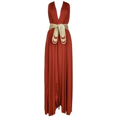 Bill Tice Jersey Belted Halter Disco Gown, 1980s