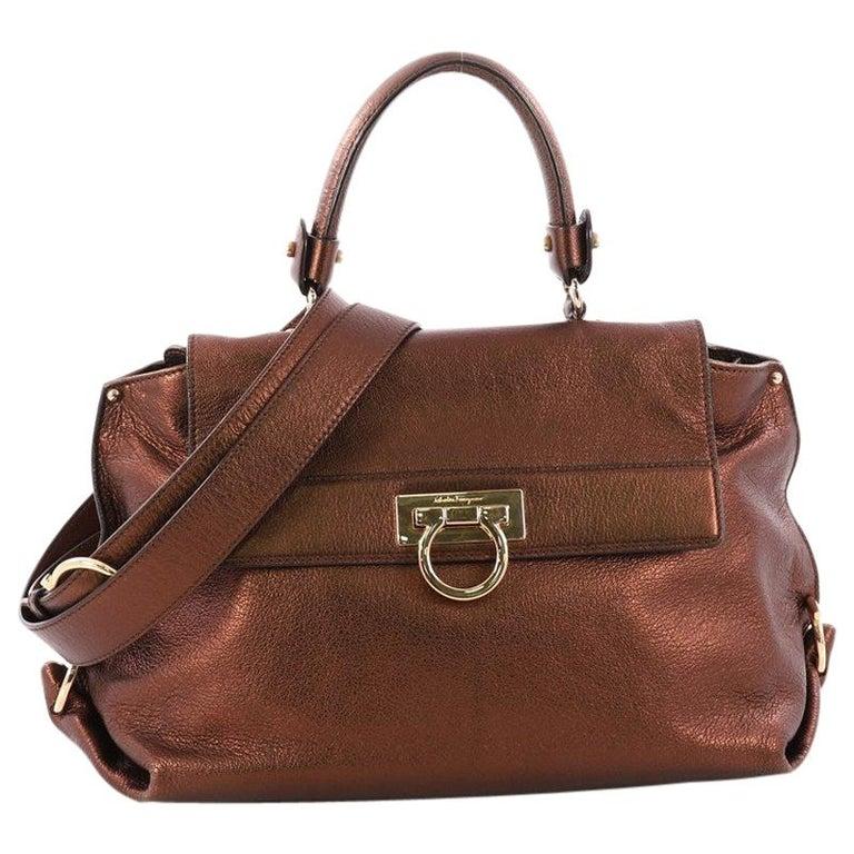 5bf20956e1 Salvatore Ferragamo Sofia Satchel Pebbled Leather Medium For Sale at 1stdibs