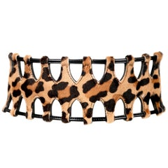 Azzedine Alaia pony skin leopard runway belt with black leather trim, 1991