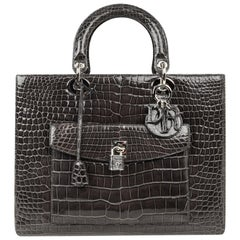 Christian Dior Lady Dior Front Pocket Gray Crocodile Bag With Shoulder Strap