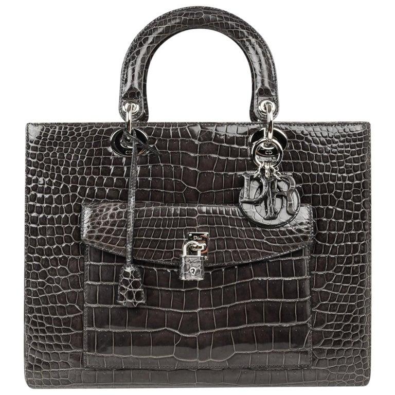 Christian Dior Lady Dior Front Pocket Gray Crocodile Bag With Shoulder Strap  For Sale 56168607ec593