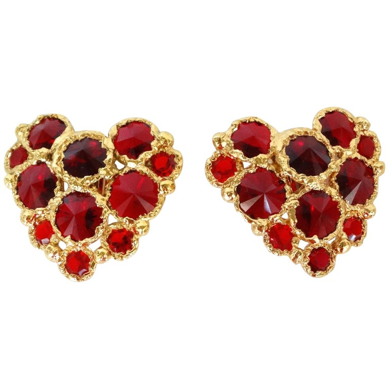 1980's Christian Lacroix Red Gripoix Heart Earrings  For Sale