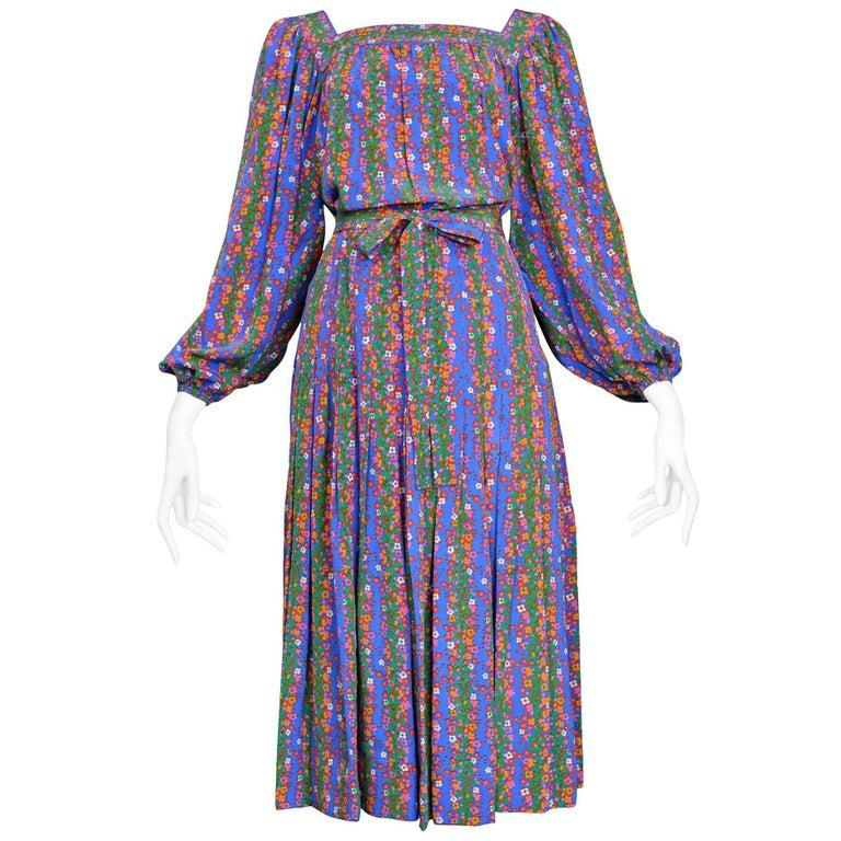 1970s Yves Saint Laurent Purple Floral Skirt Ensemble