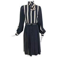 Bill Blass pleated silk black and tan stripe dress 1970s