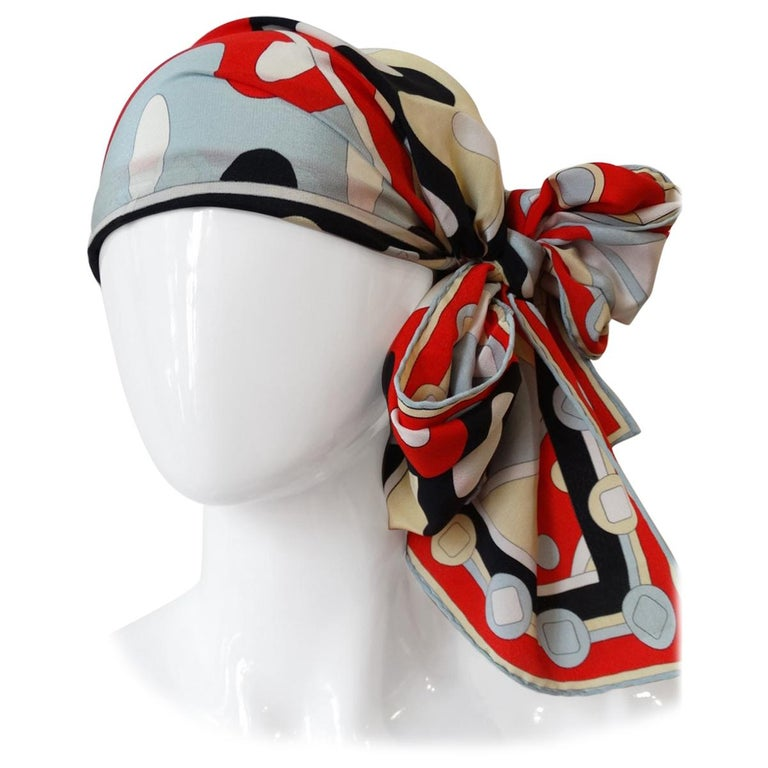 1980's Emilio Pucci Red Geometric Printed Silk Scarf  For Sale