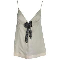 Alexander McQueen cream silk satin rhinestone camisole top
