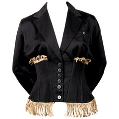 Azzedine Alaïa black cotton corset runway jacket with rope detail, 1988