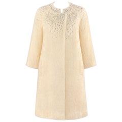 BATALDI c.1960's Ivory Mohair Crystal Rhinestone Embellished Evening Coat