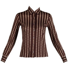 1970s Celine Paris Vintage Brown Horse Bit + Monogram Print Cotton Blouse Top