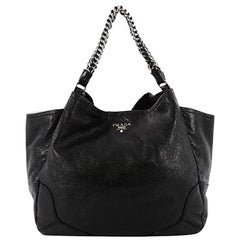 Prada Lux Chain Side Pocket Hobo Cervo Leather Large
