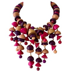 Pink and Coral Fringe Bib Statement Necklace