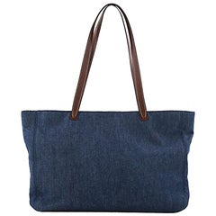 Chanel Vintage CC Logo Tote Denim Large