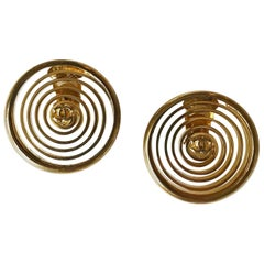 1980s Chanel Gold Plated Spiral Earrings