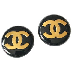 "Classic 1980's Chanel ""CC"" Black Button Earrings"