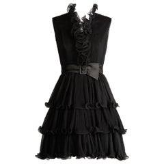 1970s Emma Domb Vintage Black Pleated Cocktail Dress
