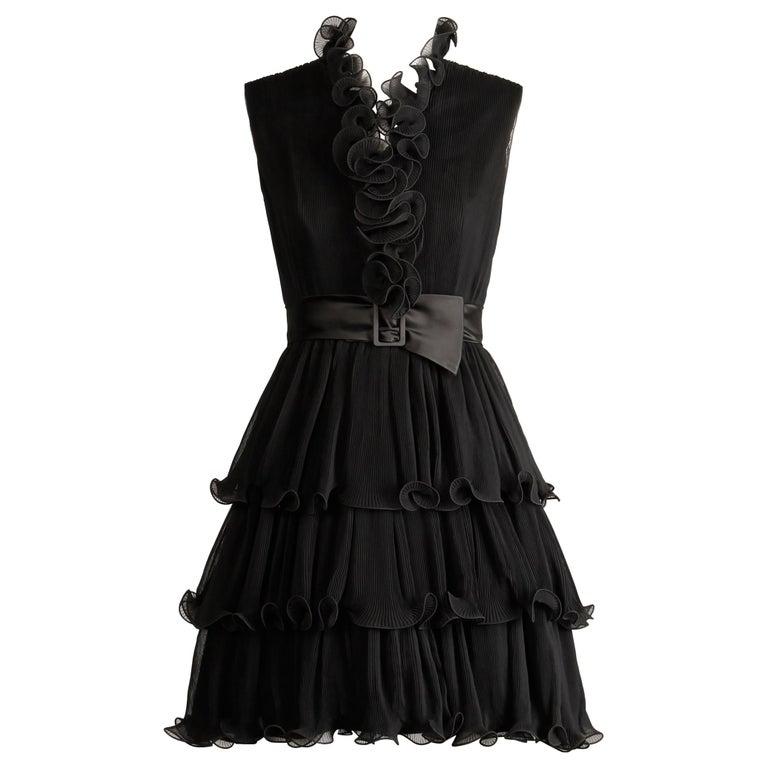 1970s Emma Domb Vintage Black Pleated Cocktail Dress