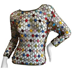 Gianni Versace Couture Vintage Crystal Bead Crochet Flower Sheer Long Sleeve Top
