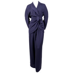 1990's THIERRY MUGLER navy blue suit with wrap jacket