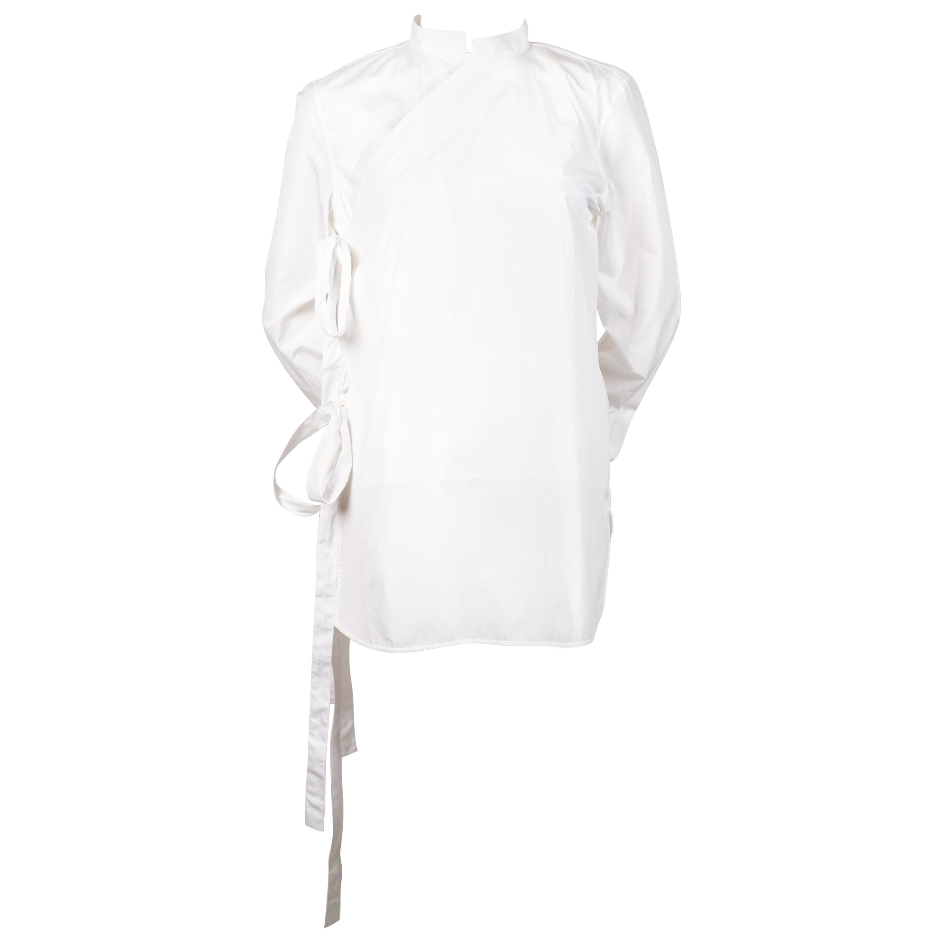 d0a638e72f34 Celine by Phoebe Philo white cotton shirt with ties at 1stdibs
