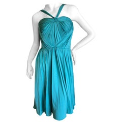 Christian Dior by John Galliano Turquoise Plisse Heart Bustier Cocktail Dress