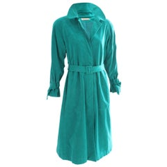 Lilli Ann Trench Coat Vibrant Turquoise Ultrasuede Belted Size M Vintage