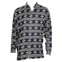 Versace B&W Geometric Print Silk Twill Button Up Shirt, circa 1990s