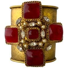 Striking French Red Maltese Cross Cuff Bracelet