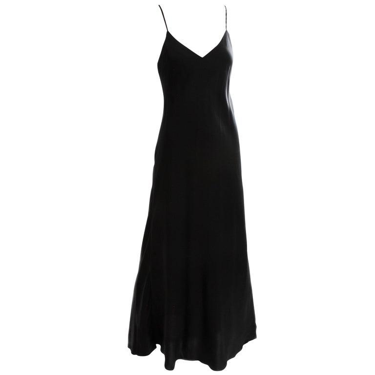 Saks Fifth Avenue Black Silk Charmeuse Slip Dress Long Gown Size M ...