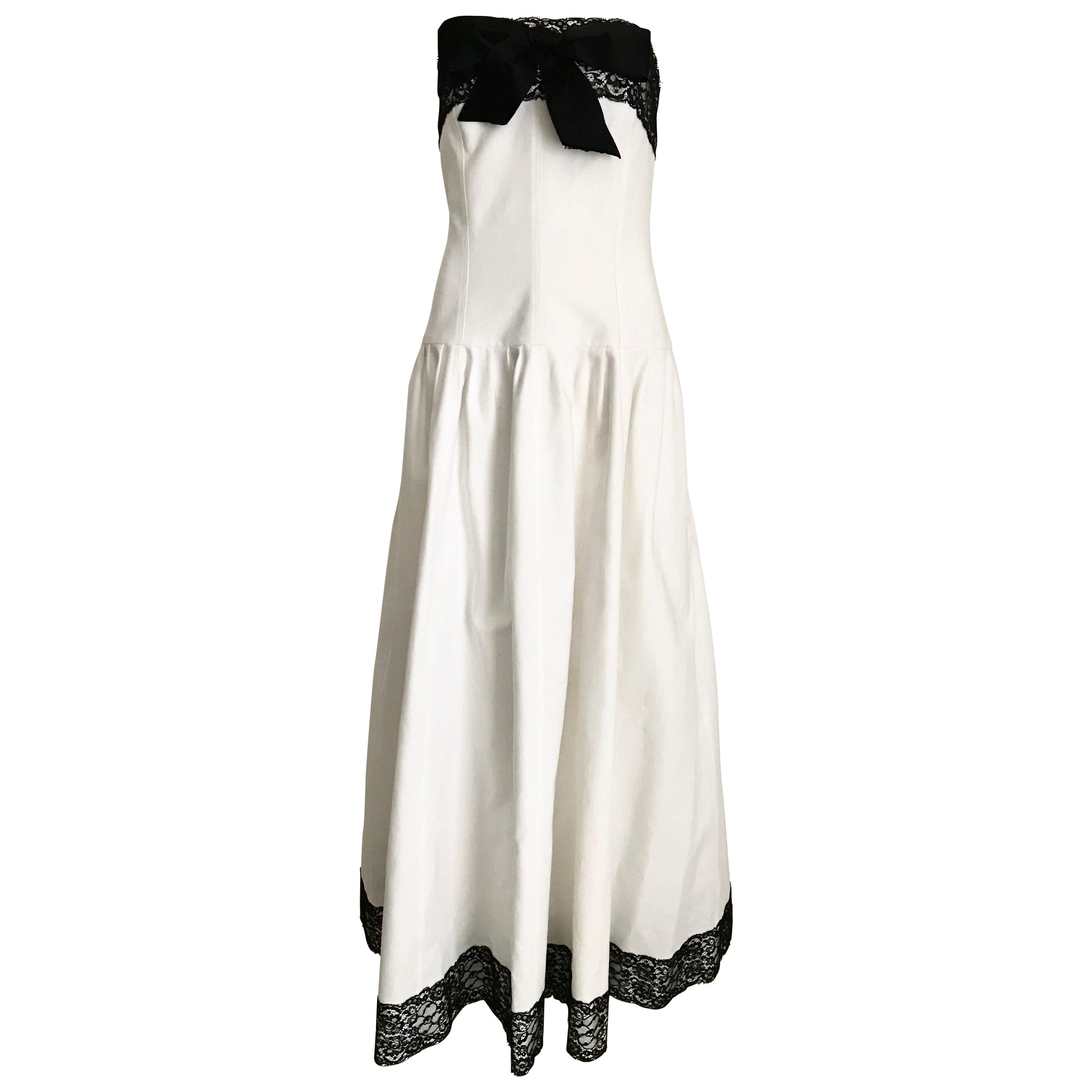 Chanel White and Black Cotton Pique Strapless Cocktail Dress, 1980s