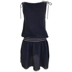 Chanel Navy Blue Knit Drop Waist Dress